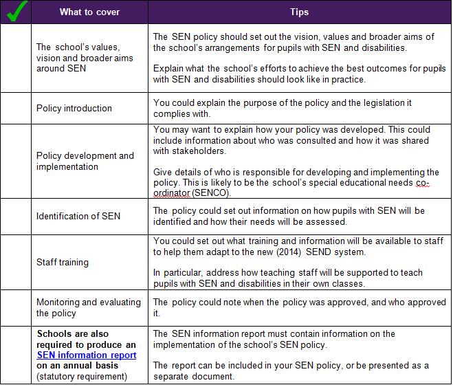 SEN policy checklist